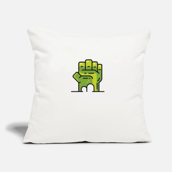 "Halloween Pillow Cases - Hulk Fist Novelty Graphic T Shirt - Throw Pillow Cover 18"" x 18"" natural white"