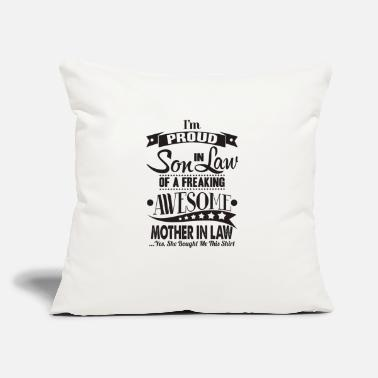 "Im a proud son in law of awome mother in law - Throw Pillow Cover 18"" x 18"""