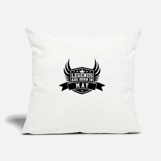 "Birthday Pillow Cases - Legends Are Born in May | May Birthdays - Throw Pillow Cover 18"" x 18"" natural white"