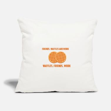 "Waffle WAFFLES, FRIENDS & WORK - Throw Pillow Cover 18"" x 18"""