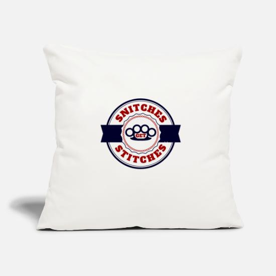 "Famous Pillow Cases - Snitches Get Stitches Metal Knuckles Famous Saying - Throw Pillow Cover 18"" x 18"" natural white"
