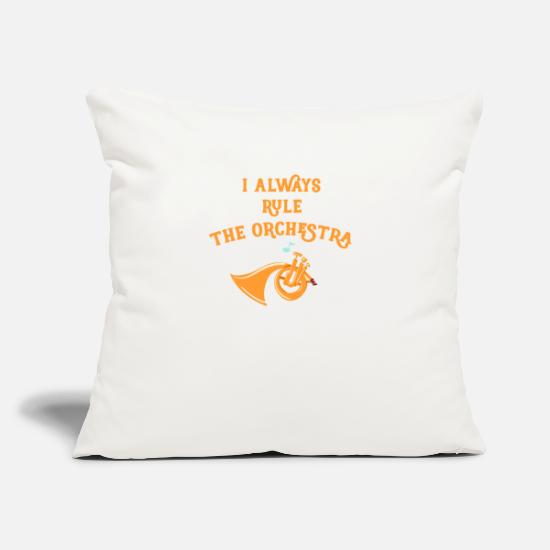 "Orchestra Pillow Cases - French Horn I Rule the Orchestra Brass Instrument - Throw Pillow Cover 18"" x 18"" natural white"