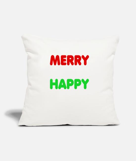 "Christmas Pillow Cases - Merry Everything Happy Always Holiday Season Gift - Throw Pillow Cover 18"" x 18"" natural white"