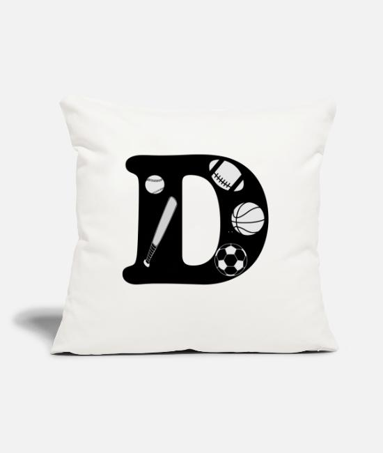 "Alphabet Pillow Cases - initial D - Throw Pillow Cover 18"" x 18"" natural white"