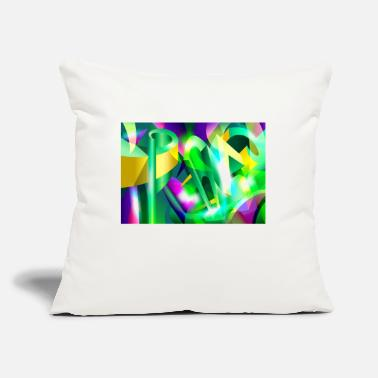 "GREEN-ACID Cubism Abstract Digital Art - Throw Pillow Cover 18"" x 18"""