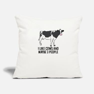 "Moo Funny Cow Farmer, I Like Cows And Maybe 3 People - Throw Pillow Cover 18"" x 18"""