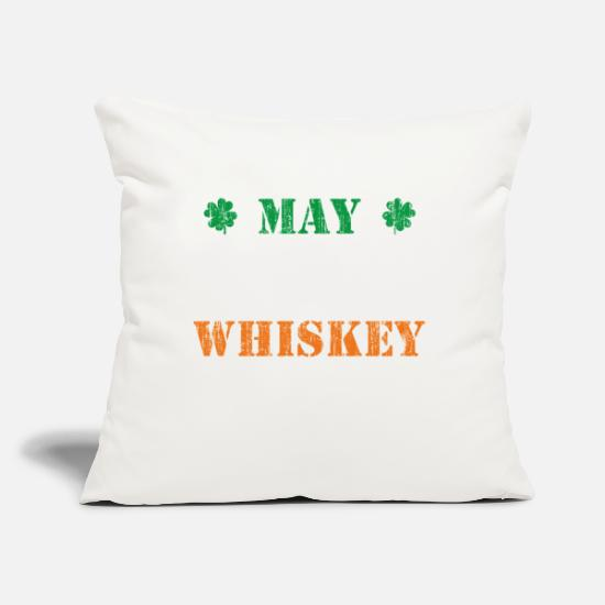 "Alcohol Pillow Cases - May contain traces of whiskey - smile - Throw Pillow Cover 18"" x 18"" natural white"