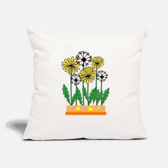 "Floral Pillow Cases - Dandelion flower in pot - Throw Pillow Cover 18"" x 18"" natural white"