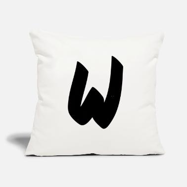 "Initial W initial - Throw Pillow Cover 18"" x 18"""