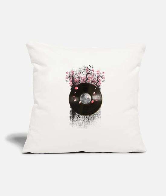 "Record Pillow Cases - Cherry Bloom Record - Throw Pillow Cover 18"" x 18"" natural white"