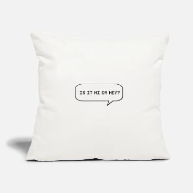 "Calum is it hi or hey buttons - Throw Pillow Cover 18"" x 18"""