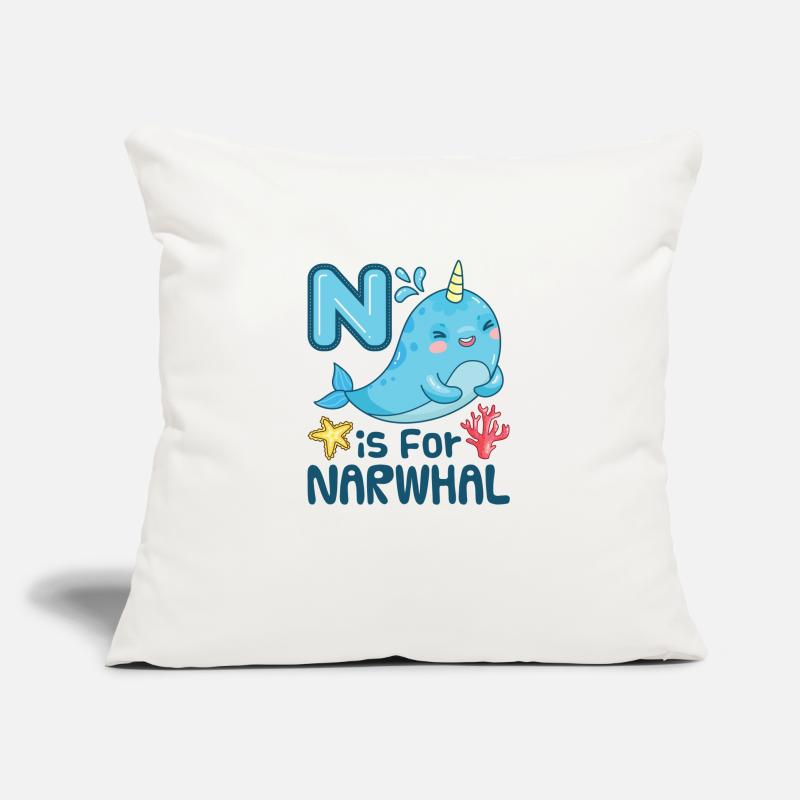 "Narwhal Pillow Cases - N Is For Narwhal - Throw Pillow Cover 18"" x 18"" natural white"