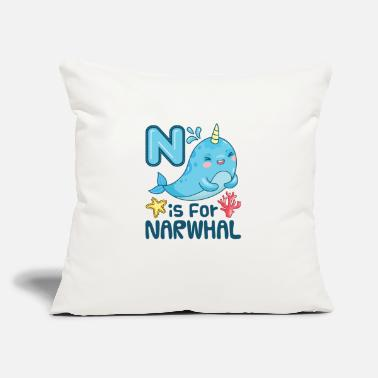 "Kids N Is For Narwhal - Throw Pillow Cover 18"" x 18"""