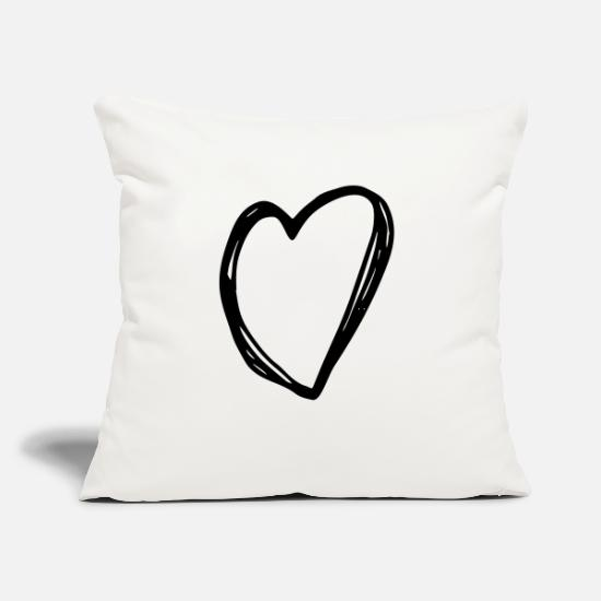 "Love Pillow Cases - Heart - love heart - Throw Pillow Cover 18"" x 18"" natural white"