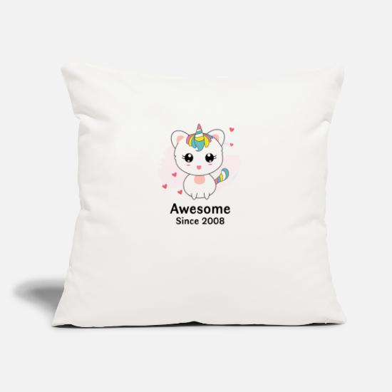 "Birthday Pillow Cases - Caticorn Aweseome Since 2008 10th birthday gift - Throw Pillow Cover 18"" x 18"" natural white"