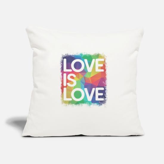 "Love Pillow Cases - Love is Love Geometric LGBT Gay Pride - Throw Pillow Cover 18"" x 18"" natural white"