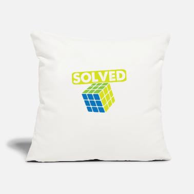 "Cube Vintage Games - Rubiks Problem Solved - Throw Pillow Cover 18"" x 18"""