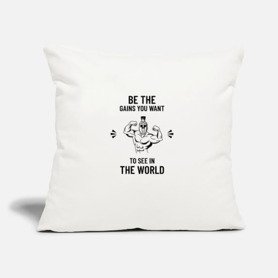 "Gains Pillow Cases - Be The Gains - Throw Pillow Cover 18"" x 18"" natural white"