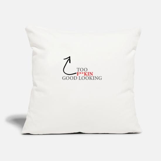 "Black Pillow Cases - Too Good Looking - Throw Pillow Cover 18"" x 18"" natural white"