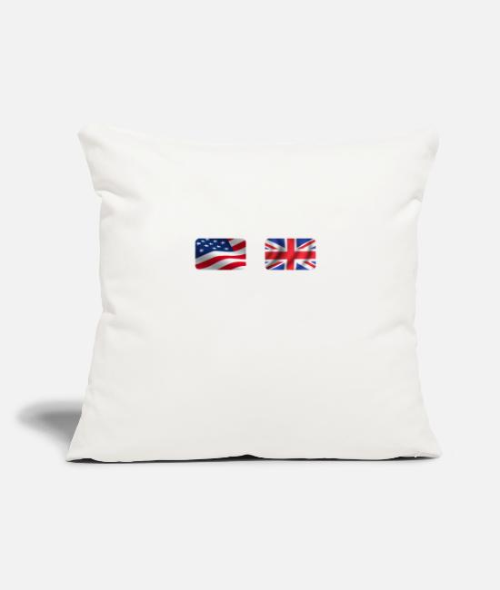 "Nottingham Pillow Cases - Half British Half American Totally Awesome - Throw Pillow Cover 18"" x 18"" natural white"