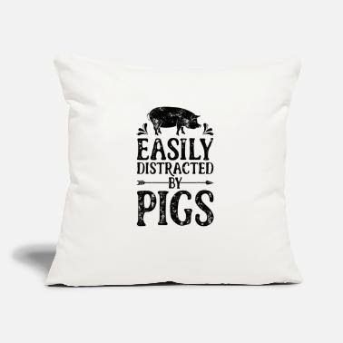"Easily Distracted By Pigs T Shirt Funny Pig - Throw Pillow Cover 18"" x 18"""
