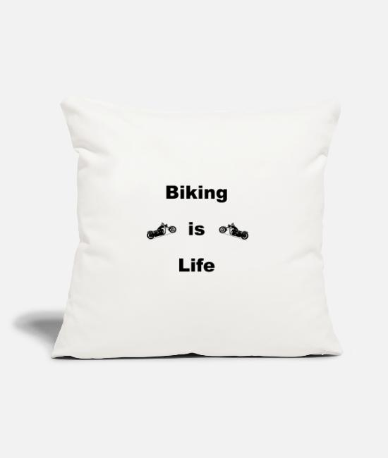 "Cruiser Pillow Cases - BIKING is Life - Throw Pillow Cover 18"" x 18"" natural white"