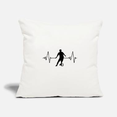 "I Heart Football Heartbeat soccer | football | heart rate | black - Throw Pillow Cover 18"" x 18"""