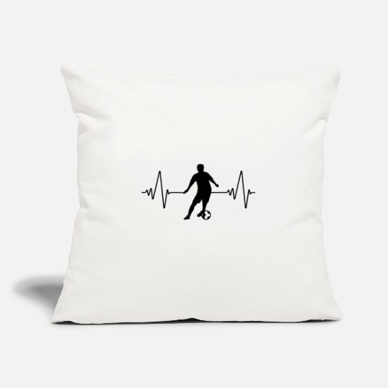 "National Team Pillow Cases - Heartbeat soccer | football | heart rate | black - Throw Pillow Cover 18"" x 18"" natural white"