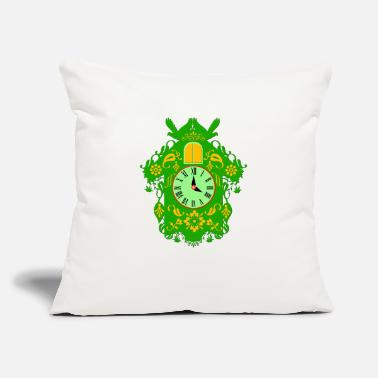 "Black Forest Clock decorative green cuckoo clock - Throw Pillow Cover 18"" x 18"""