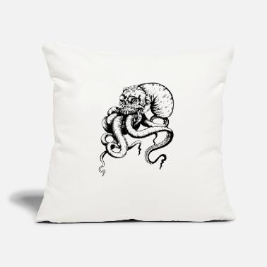 "Skull Cthulu (Black and White) - Throw Pillow Cover 18"" x 18"""