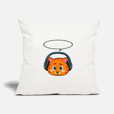 "Headphones Cat with headphones - Throw Pillow Cover 18"" x 18"""