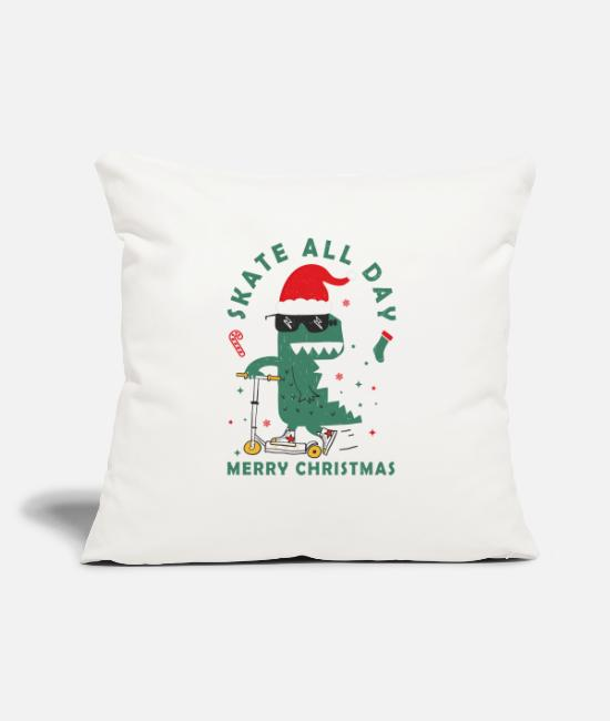 "Christmas Pillow Cases - Skate all day merry Christmas - Throw Pillow Cover 18"" x 18"" natural white"