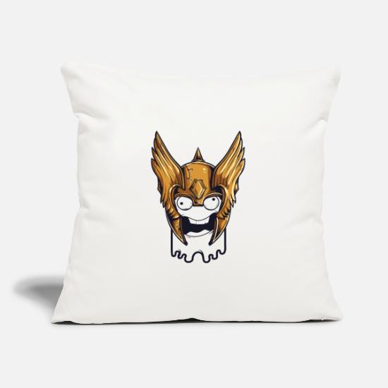 "Crazy Pillow Cases - Crazy Viking Slim Face Derp - Throw Pillow Cover 18"" x 18"" natural white"