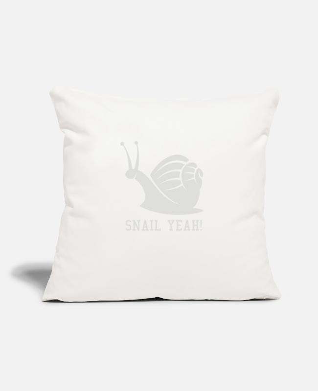 "Movie. Music. Humour Pillow Cases - Snail Yeah - Throw Pillow Cover 18"" x 18"" natural white"
