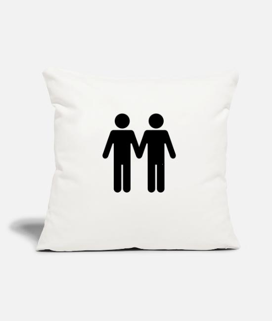 "Love Pillow Cases - Gay Men WC Style - Throw Pillow Cover 18"" x 18"" natural white"