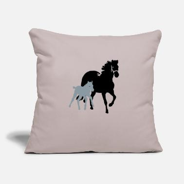 "Mare mare with foal - Throw Pillow Cover 18"" x 18"""