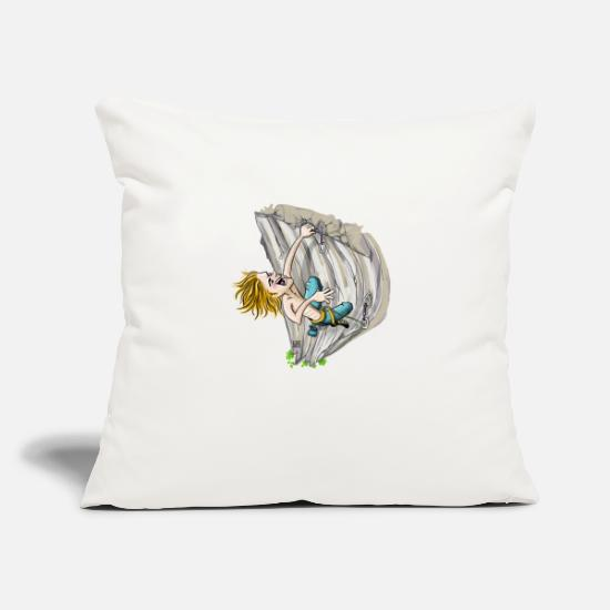 "Rock Climbing Pillow Cases - Climber on overhang - Throw Pillow Cover 18"" x 18"" natural white"