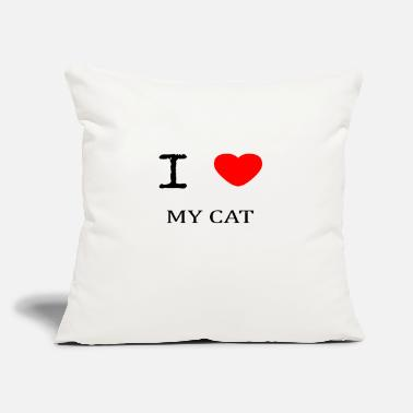 "I Love My I LOVE MY CAT - Throw Pillow Cover 18"" x 18"""