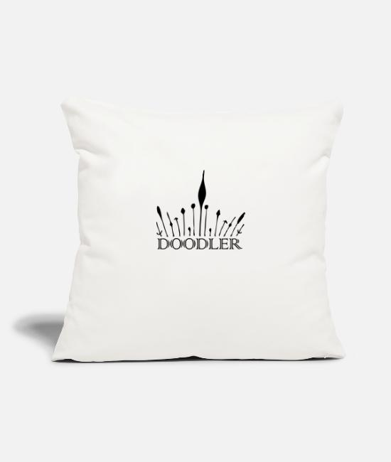 "Artist Pillow Cases - Doodler King - Throw Pillow Cover 18"" x 18"" natural white"