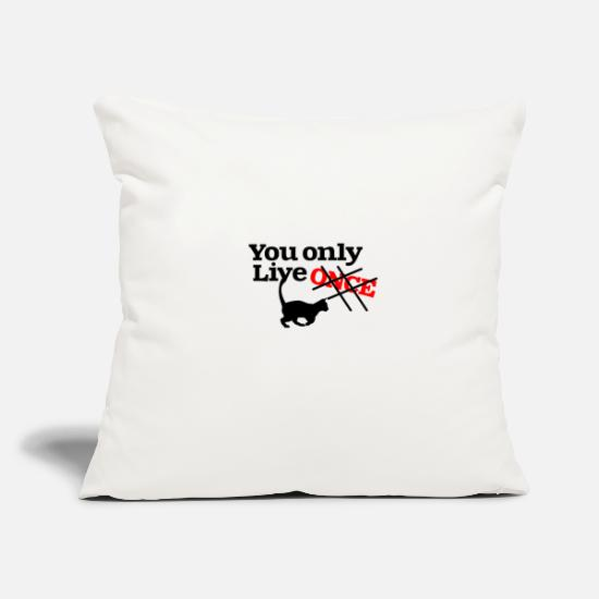 "Running Pillow Cases - You only live - Throw Pillow Cover 18"" x 18"" natural white"
