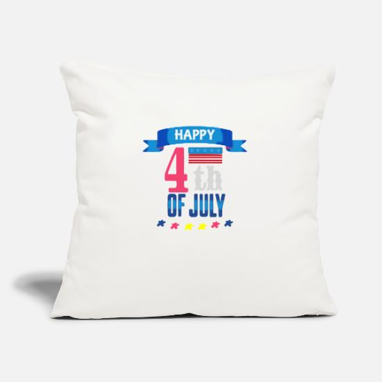 "Independence Day Pillow Cases - HAPPY INDEPENDENCE DAY - Throw Pillow Cover 18"" x 18"" natural white"