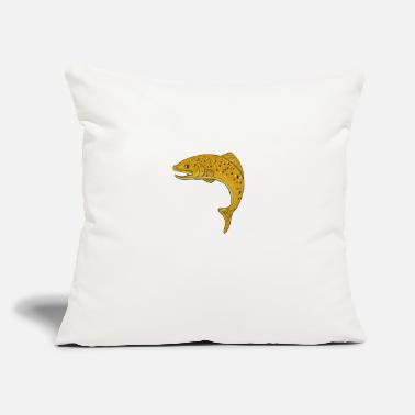 "Jumping Spot spotted-trout-jumping-sid - Throw Pillow Cover 18"" x 18"""