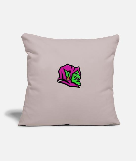 "Isolated Pillow Cases - Goblin Head Mascot - Throw Pillow Cover 18"" x 18"" light taupe"