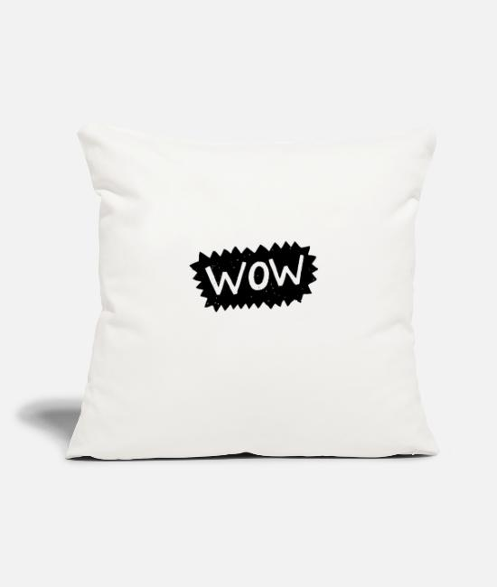 "Ball Pillow Cases - Wow in Buble chat - Throw Pillow Cover 18"" x 18"" natural white"