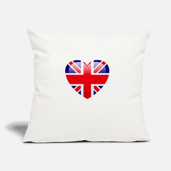 "Love Pillow Cases - UK Flag Love - Throw Pillow Cover 18"" x 18"" natural white"