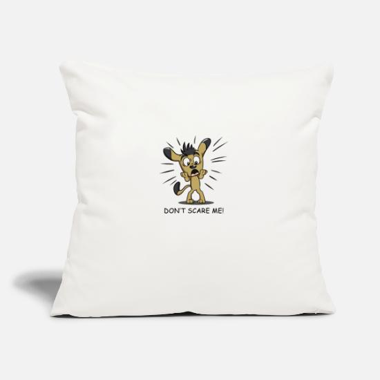 "Scare Pillow Cases - Scared Dog - Throw Pillow Cover 18"" x 18"" natural white"