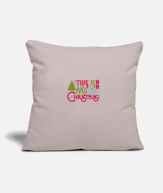 "Christmas Carols Pillow Cases - This Is My First Christmas - Throw Pillow Cover 18"" x 18"" light taupe"