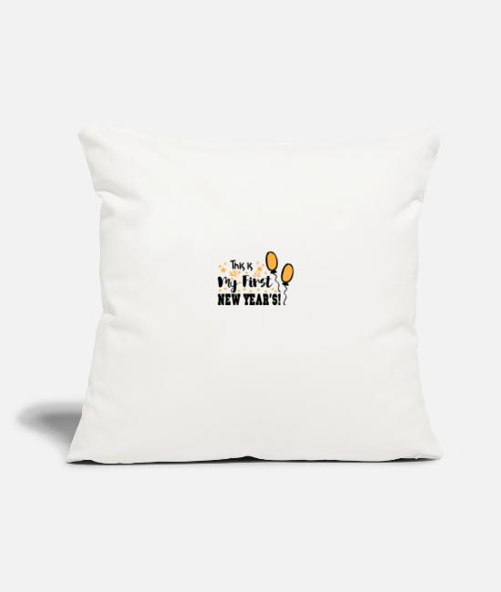 "New Year's Day Pillow Cases - This is My First New Year s 05 - Throw Pillow Cover 18"" x 18"" natural white"