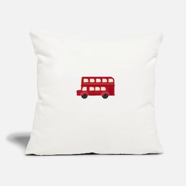 "Places Of Interest Red Double Decker Bus - Throw Pillow Cover 18"" x 18"""