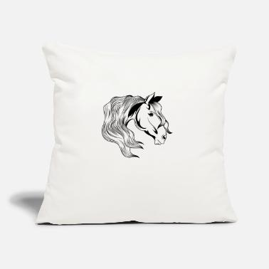"Silhouette horse head riding - Throw Pillow Cover 18"" x 18"""